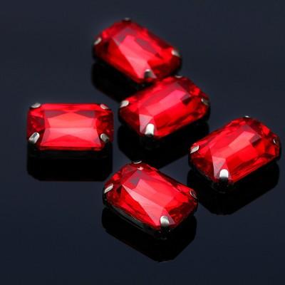Стразы в цапах (набор 5шт), 10*14мм, цвет красный в серебре