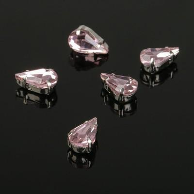 Стразы в цапах (набор 5 шт), 6*10мм, цвет розовый в серебре