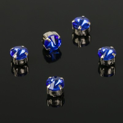 Стразы в цапах (набор 5 шт), 6*6мм, цвет синий в серебре