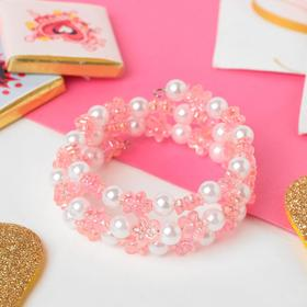 Браслет-пружинка детский 'Выбражулька' цветочки хрустальные, цвет бело-розовый Ош