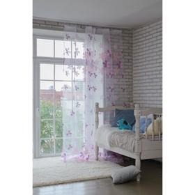 Тюль 'Этель' Цветы лета (цвет розовый) без утяжелителя, ширина 135 см, высота 270 см Ош