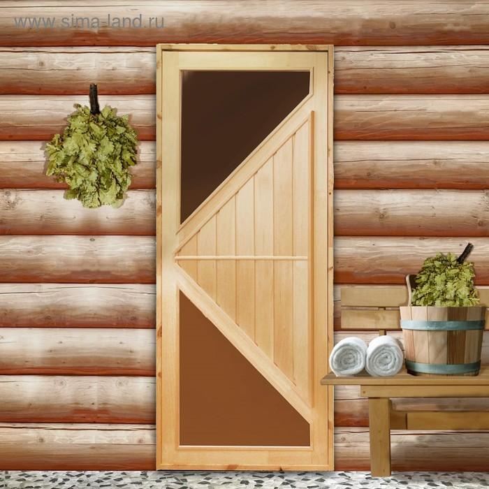 """Дверь со стеклом """"Углы"""" + коробка ЛИПА 190х80"""