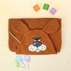 Полотенце-накидка махровое собачка, 75×125 см, коричневый, Хл, 300 г/м²
