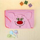 Полотенце-накидка махровое хрюшка, 75×125 см, розовый, Хл, 300 г/м²