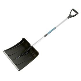 Лопата пластиковая, ковш 380 × 370 мм, морозостойкая, с алюминиевой планкой, алюминиевый черенок Ош