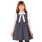 """Платье для девочки """"Школьная пора"""", рост 140 см (72), цвет черно-белый, принт клетка ДПД6822   26263"""