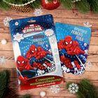 """Мозаика стикерная - открытка """"Крутого Нового Года!"""" Человек-паук, стразы"""