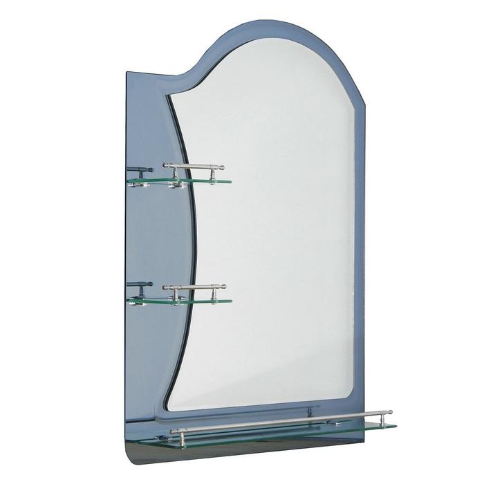 Зеркало в ванную комнату Ассоona A623, 800 х 600 мм, 3 полки, двухслойное, цвет сталь