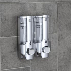 Дозатор для жидкого мыла Accoona A183-2, настенный, двойной, 700 мл, пластик, цвет серый