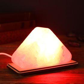 Соляной светильник 'Треугольник малый', цветной, красный, цельный кристалл Ош