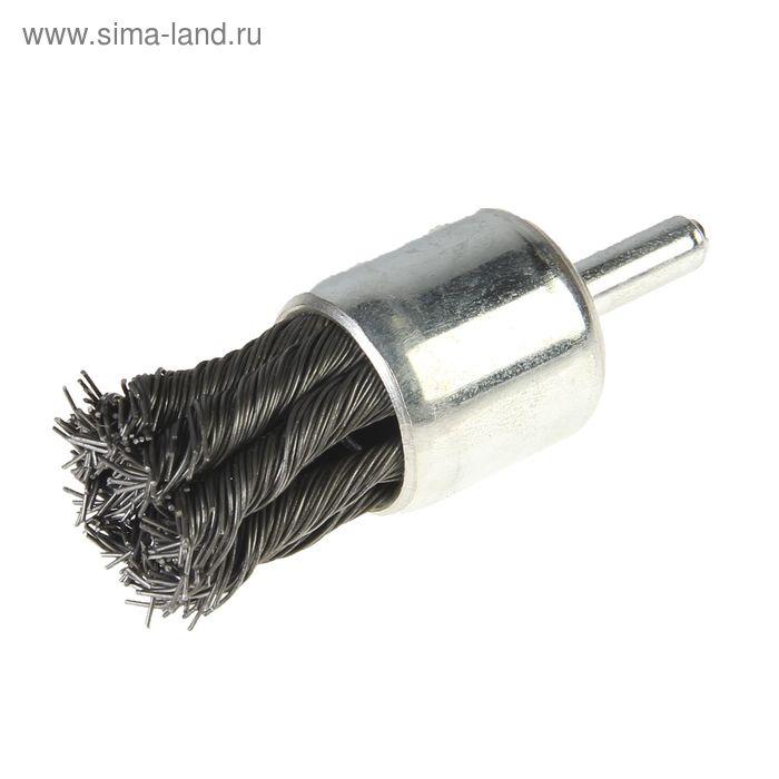 Щетка-крацовка концевая со шпилькой для дрели Hobbi, крученая проволока, 25 мм