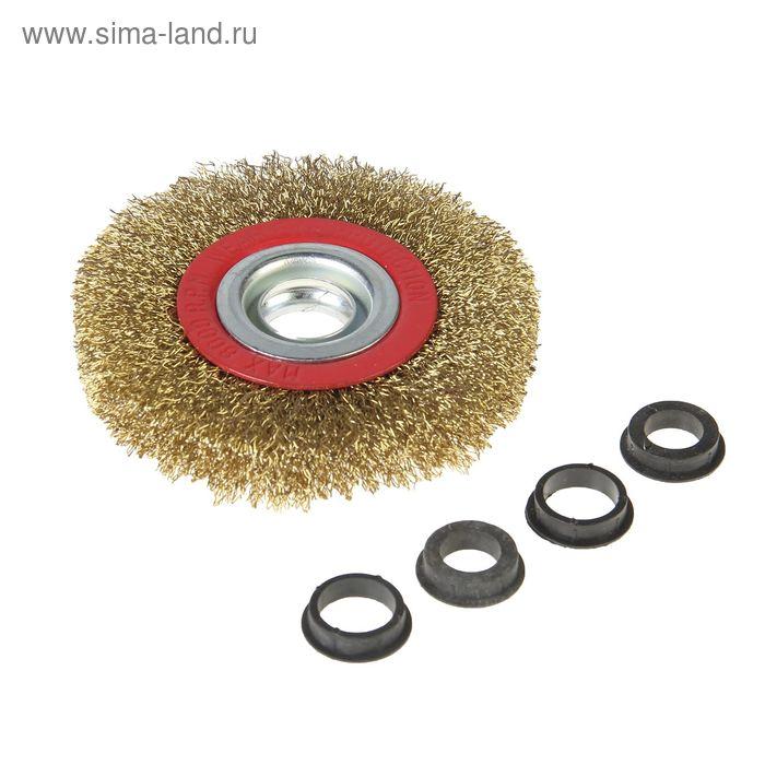 Щетка-крацовка круглая Hobbi, диаметр 100 мм, посад. диаметр 20,0/19,0/15,8/12,7 мм