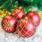 """Новогодние шары """"Узоры"""" (набор 4 шт.), бордовые"""