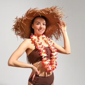 """Гавайское ожерелье """"Крупные цветы"""", цвета МИКС"""