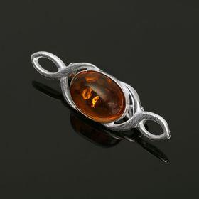 Брошь 'Янтарь' завиток, цвет коричневый в посеребрении Ош