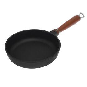 Сковорода чугунная 18х4 см, деревянная ручка Ош