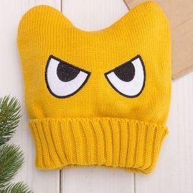 """Шапка для мальчика """"Angry"""", размер 48-50, цвет жёлтый"""