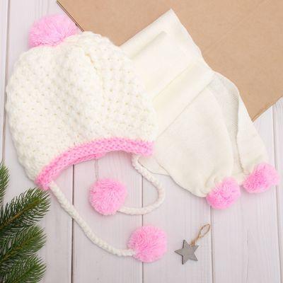 Комплект для девочки (шапка, шарф), размер 50, цвет белый