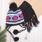 Комплект утеплённый для мальчика (шапка, шарф), р-р 48, цв.чёрный/голубой