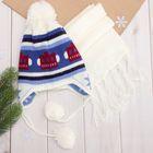 Комплект утеплённый для мальчика (шапка, шарф), р-р 48, цв. белый/голубой