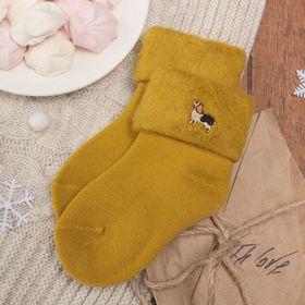 """Носки детские тёплые Collorista """"Пёсик"""", размер 12 (18-20), цвет горчичный"""