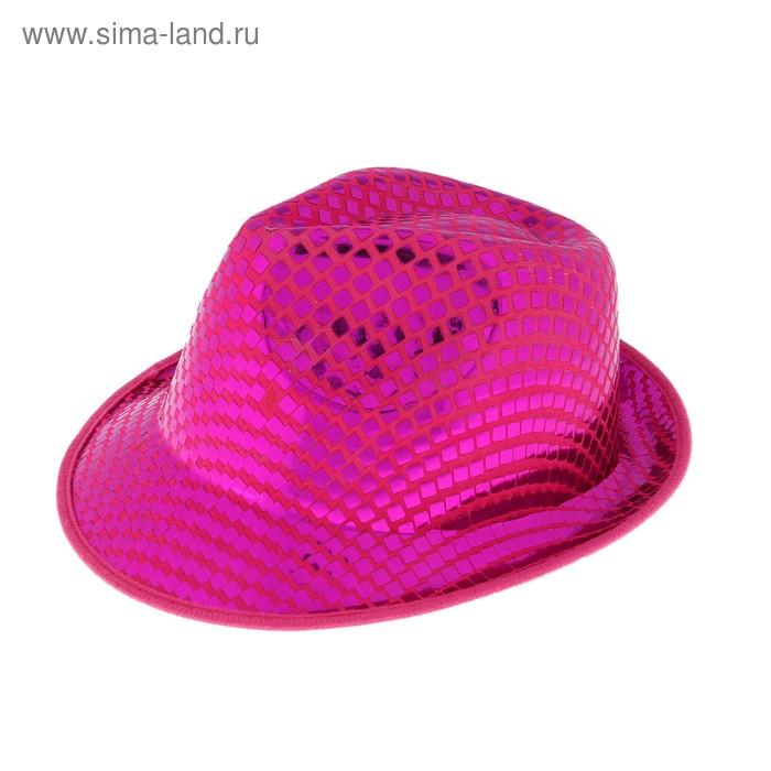 """Шляпа """"Блеск"""" розовая, узкие поля, с блестками"""