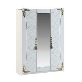 Шкаф 3 двери 1 зеркало Аделина Белый глянец/Золото
