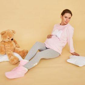 Легинсы утеплённые для беременных (высокие), размер 44-48 (М-L), цвет серый, аппликация МИКС