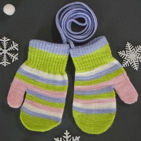 Варежки детские на верёвочке 'Малышок', размер 12, цвет зелёный Ош