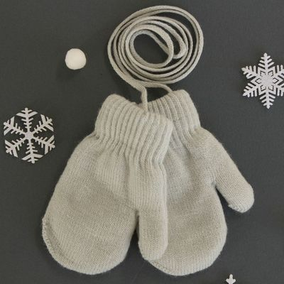 Варежки детские двухслойные на верёвочке, размер 14, цвет серый