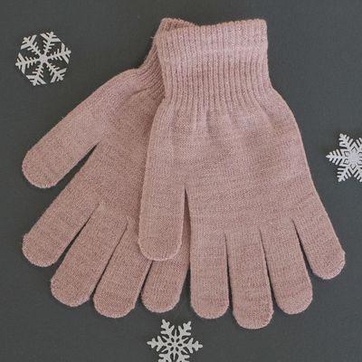 Перчатки женские с люрексом, размер 18 (р-р произв. 19*9 см), цвет розовый