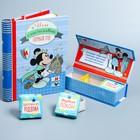 """Подарочный набор: фотоальбом 10 магнит. листов, набор памятных коробочек в пенале """"Мой первый год"""", Микки Маус, Дисней Беби"""