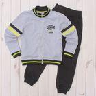 Костюм спортивный для мальчика (куртка, брюки), рост 146 см, цвет серый меланж CAJ 9657
