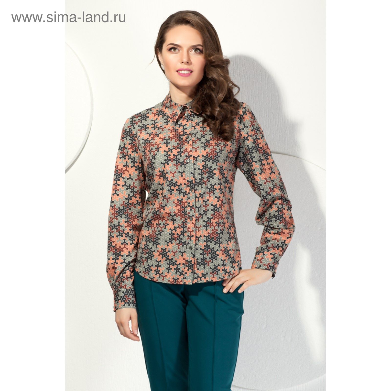 Блуза женская, размер 54, цвет зелёный+оранжевый Б-186 (2720440 ... 8ee12027dff