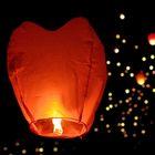 Небесный фонарик в форме сердца, цвет: красный