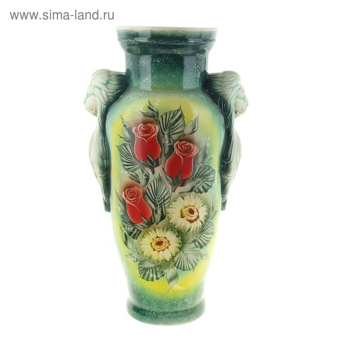 """Ваза напольная """"Дора"""" цветы, зелёная"""