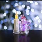 """Игрушка световая """"Снеговик со свечкой"""" (батарейки в комплекте) 2 LED, RGB/WW КРАСНЫЙ"""