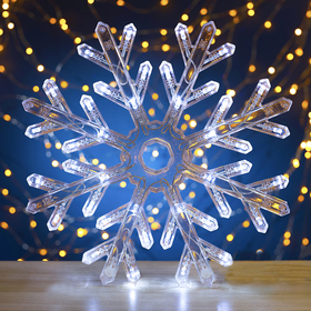 "Фигура ""Снежинка"" d=30 см, пластик, 40 LED, 220V, контрол. 8р. БЕЛЫЙ"