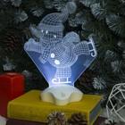 "Подставка световая ""Снеговик на коньках"", 25х18.5 см, 7 LED, 3хААА (не в компл.), БЕЛЫЙ"