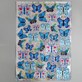 """Наклейка пластик 7D """"Рой бабочек"""" МИКС 58х35,5 см"""