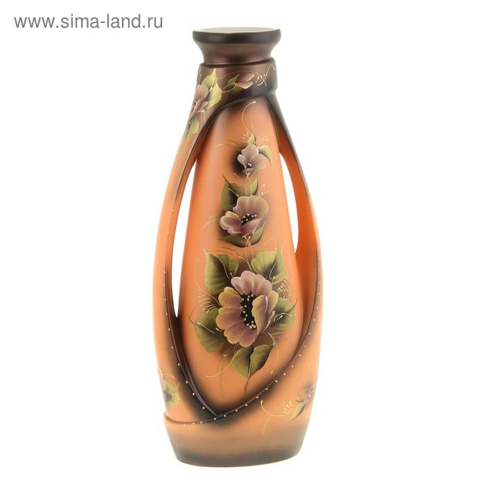 """Ваза напольная """"Венеция"""" цветы, акрил, оранжевая"""