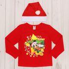 """Набор:футболка с дл.рукавом и шапка""""Новый год"""" Микки Маус,рост 110-116 см (32), 5-6лет"""