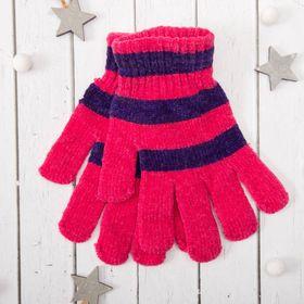 """Перчатки молодёжные """"Велюр"""", размер 16, цвет розовый 58971"""