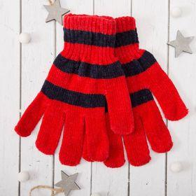 """Перчатки молодёжные """"Велюр"""", размер 16, цвет красный (ВИД 1) 58971"""