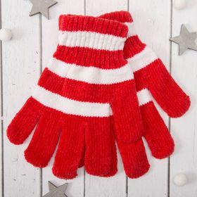 """Перчатки молодёжные """"Велюр"""", размер 16, цвет красный (ВИД 2) 58971"""