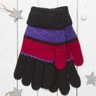 """Перчатки молодёжные """"Молодость"""", размер 18, цвет чёрный/фиолетовый 65471"""