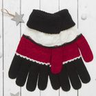 """Перчатки молодёжные """"Молодость"""", размер 18, цвет чёрный/бордо 65471"""