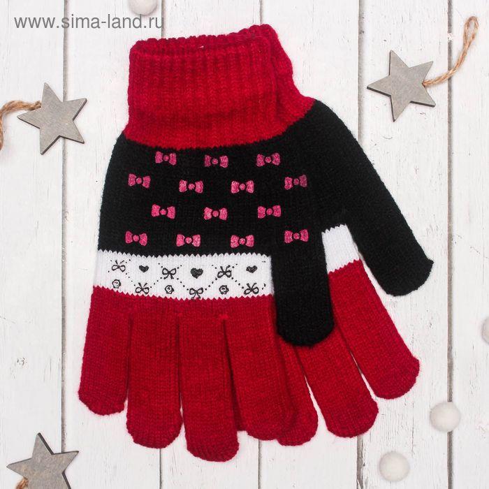 """Перчатки с шерстью молодёжные Collorista """"Бантики"""", размер 20 (р-р произв. 10), цвет бордовый"""