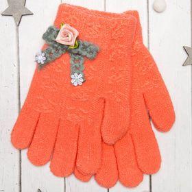 """Перчатки молодёжные """"Розочка"""", размер 20, цвет оранжевый, аппликация МИКС 65576"""