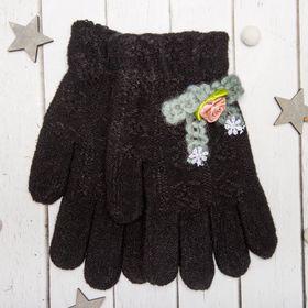 """Перчатки молодёжные """"Розочка"""", размер 20, цвет чёрный, аппликация МИКС 65576"""